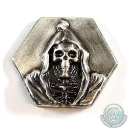 Limited Mintage! Beaver Bullion 4oz Fine Silver 'Death' Hexagon Bar (TAX Exempt).