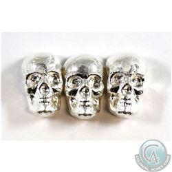 Lot of Beaver Bullion 1oz Fine Silver Skulls (Tax Exempt) 3pcs.