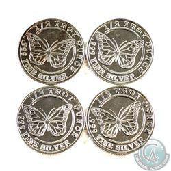 Lot of Monarch 1/2oz Butterfly .999 Fine Silver Rounds (TAX Exempt) 4pcs.