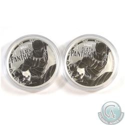 2x 2018 Tuvalu $1 Marvel Series - Black Panther 1oz. Fine Silver Coins (Tax Exempt) 2pcs.
