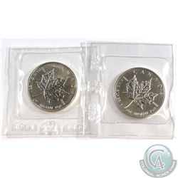 1989 & 1990 Canada $5 Silver Maple Leaf Coins sealed in original RCM packaging (Tax Exempt) 2pcs.