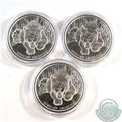 2017 Republic of Ghana 5 Cedi African Leopard 1oz. Fine Silver Coins (Tax Exempt) 3pcs