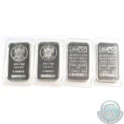 Lot of Sunshine & Johnson Matthey 1oz Fine Silver Bars (Tax Exempt) 4pcs