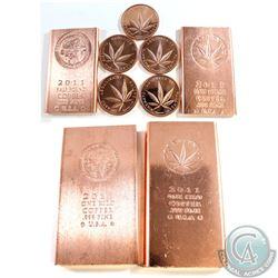 Lot of 1-Kilo, 1/2 Pound, 1oz Fine Copper Collection (Tax Exempt). You will receive 2x 1-Kilo, 2x 1/