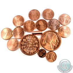 Various Fine Copper Collection (Tax Exempt). You will receive the following: 11x 1oz Copper Rounds w
