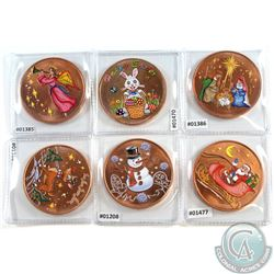 Lot of Coloured 1oz Fine Copper Rounds with 6 different Designs (Tax Exempt) 6pcs