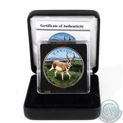 2013 Canada $5 Wildlife Series Pronghorn Antelope 1oz Fine Silver Colourized Coin in Special Display