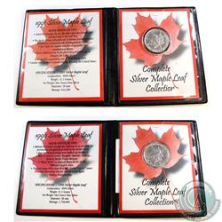 1990 & 1991 Canada $5 1oz Fine Silver Maples Leafs in presentation folders (Tax Exempt). Please note