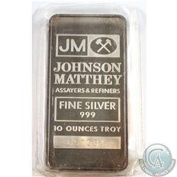 Johnson Matthey 10oz Fine Silver Bar (Tax Exempt) Serial # 657034.