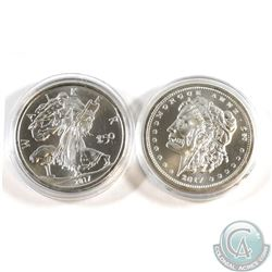 Pair of Zombucks 1oz Fine Silver Rounds (Tax Exempt). You will receive the 'Morgue Anne' and 'The Wa