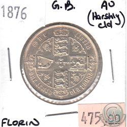 1876 Great Britain Florin AU (Harshly Cleaned)