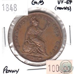 1848 Great Britain Penny VF-EF (Marks)