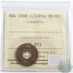 1908 British West Africa 1/10 Penny ICCS Certified MS-65