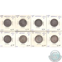 Estate Lot of 1875-1915 Germany 1 Mark F to EF as per Holders. 8pcs