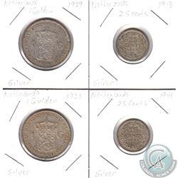 Estate Lot of 1929-1941 Netherlands Silver 1 Gulden & 25-cents. 4pcs