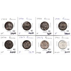 Estate Lot of Panama Silver 1/4 Balboas 1904-1961 F to MS63 as per Holders. 8pcs