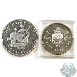 Lot of 2x 1973 Sterling Silver Coinage. You will receive 1973 Bahamas $10 & 1973 Cayman Islands $5 (