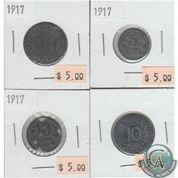 Lot of 4x 1917 German Emergency Coins (4pcs)