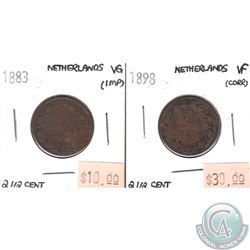 1883 VG & 1898 VF Netherlands 2 1/2 cent Coins. 2pcs