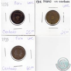Lot of 3x Peru Coinage Dated 1876, 1901 & 1935 in UNC as per holders. 3pcs