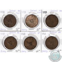 Lot of 6x Ireland Coinage Dated 1928-1941 in XF to UNC as per holders. 6pcs