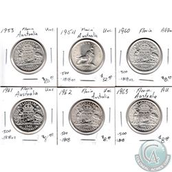 Estate Lot of 6x Australia Silver Florin Coinage Dated 1953-1963 in AU to UNC as per holders. 6pcs
