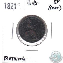 1821 Great Britain Farthing EF (Corrosion)