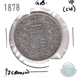 1878 Great Britain 1/2 Crown VF (Cleaned)