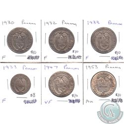 Estate Lot of 1930-1953 Panama Coinage in F to AU as per holders. 6pcs