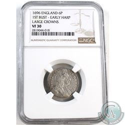 1696 England 6P 1st Bust - Early Harp; Large Crowns NGC Certified VF-30