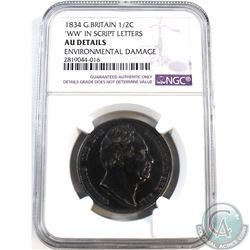 "1834 Great Britain 1/2C ""WW"" in Script Letters NGC Certified AU Details (Environmental Damage)"