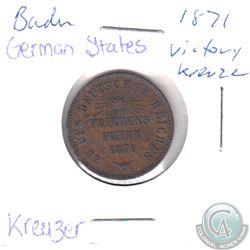 1871 German States Baden Victory 1 Kreuzer