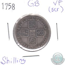 1758 Great Britain Shilling VF (Scratched)