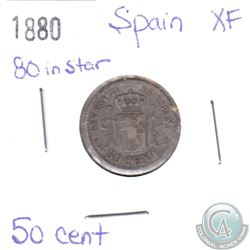 1880 Spain 50-cent '80 in Star' XF
