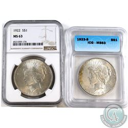 1922 USA Silver $1 NGC Certified MS-63 & 1923-S Silver $1 ICG Certified MS-63. 2pcs