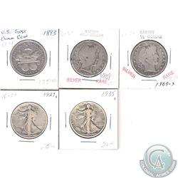 Lot of USA Silver Half Dollars 1893-1935. 5pcs
