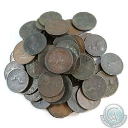 Lot of Great Britain Mostly 1800's Copper Coins. 59pcs