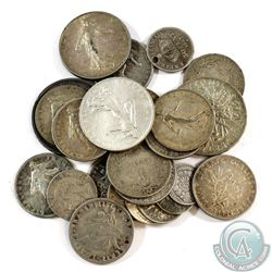 Lot of France Silver Coins - Weight 123.5g. 26pcs