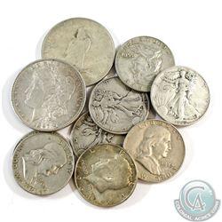 Lot of USA Silver 8x Half Dollars & 2x Dollars 1897-1964. 10pcs