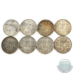Lot of Netherlands Silver 2 1/2 Gulden Coins - Weight 119.8g. 8pcs