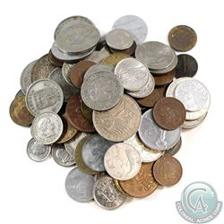 Lot of Miscellaneous World Coins - Some Silver. Approximately 70pcs