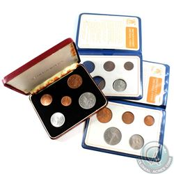 Estate Lot of 3x Britain's First Decimal Coins 5-coin Sets. Two of the sets are in a blue wallet fol