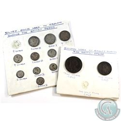 Estate Lot of Ceylon Coins. You will receive a variety of 9x Silver Coins & a one shiver and two shi