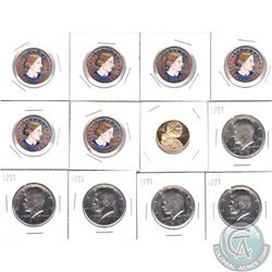 Estate Lot of USA Proof Half Dollars and Coloured Susan B. Anthony Dollars. You will receive 5x Proo