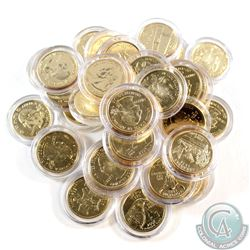 Estate Lot of USA Gold Plated State Quarters in Capsules. You will receive 33 different designs, wit