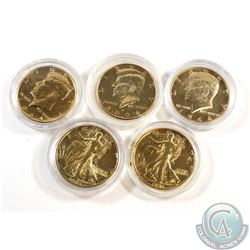 Estate Lot of USA Gold Plated Half Dollars in Capsules. You will receive 1942, 1943, 2x 1964 & 2004.