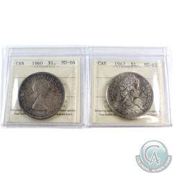 1960 Canada $1 ICCS Certified MS-64 & 1967 Canada $1 ICCS Certified MS-63. 2pcs