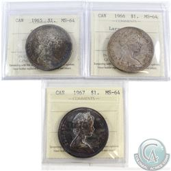 1965-1967 Canada $1 ICCS Certified MS-64. You will receive the 1965 SmBds Blt 5, 1966 Large Beads, a