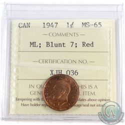 1947 Canada ML, Blunt 7 1-cent ICCS Certified MS-65 Red