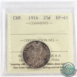 1916 Canada 25-cent ICCS Certified EF-45